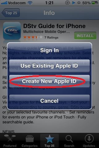 Tap Create New Apple ID