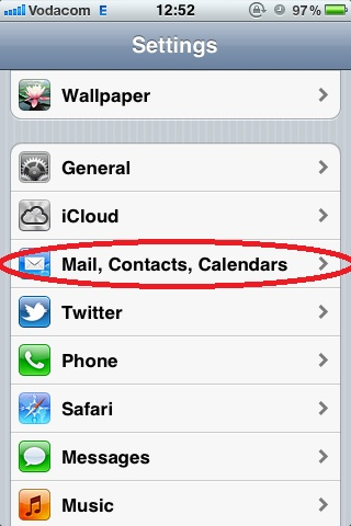 Settings, Tap Mail, Contacts Calendars