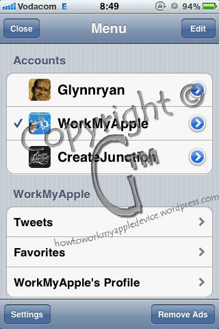 Echofon Accounts Screen