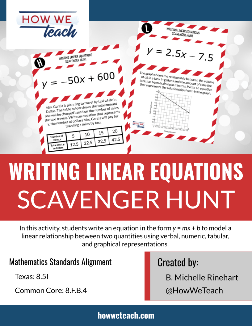 small resolution of Writing Linear Equations Scavenger Hunt (Grade 8) — How We Teach is the  Message