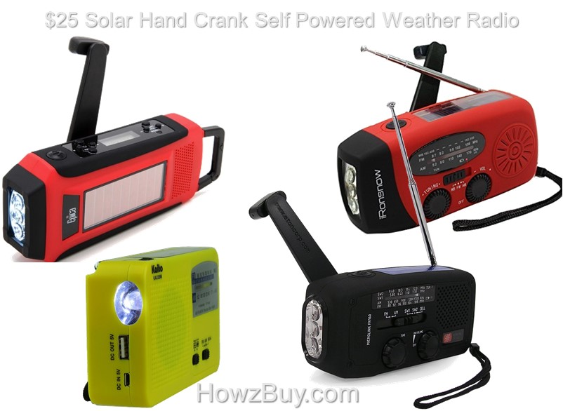 $25 Solar Hand Crank Self Powered Emergency Weather Radio review compare