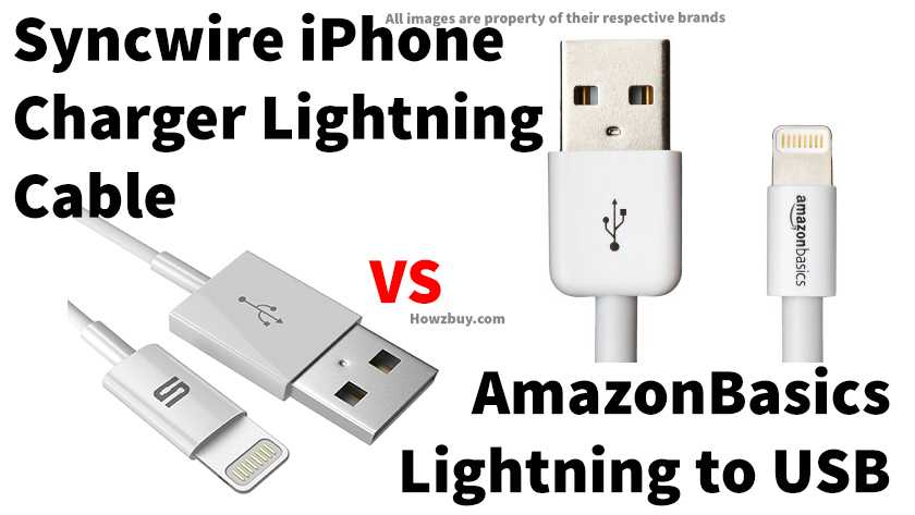 Sync wire iPhone Charger Lightning Cable 3.3 ft -[Apple MFi Certified] vs Amazon Basics Apple Certified Lightning to USB Cable – 6 Feet (1.8 Meters) comparison