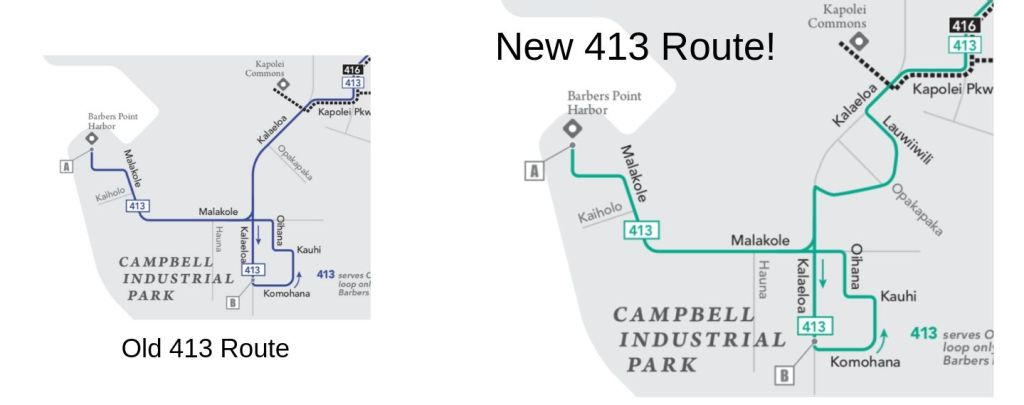 old 413 route vs new 413 route