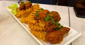 moani chicken wings and waffle fries