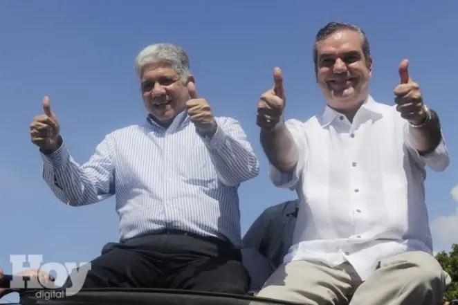 El candidato presidencial del Partido Revolucionario Moderno, Luis Abinader y Eduardo Estrella, presidente de Dominicanos por el Cambio, fuente externa