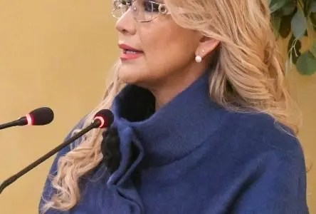 """AME462. LA PAZ (BOLIVIA), 09/01/2020.- Fotografía cedida por la Cancillería de Bolivia, que muestra a la presidenta interina de Bolivia, Jeanine Áñez, durante su discurso protocolario al cuerpo diplomático acreditado en el país este jueves, en La Paz (Bolivia). Áñez manifestó este jueves que su país quiere mantener una relación de """"amistad y respeto mutuo"""" con los Gobiernos de México y España, tras las tensiones generadas por un incidente que derivó en la expulsión de diplomáticos de ambos países. En su discurso durante el saludo protocolario del cuerpo diplomático acreditado en Bolivia, Áñez sostuvo que las decisiones de declarar personas no gratas a diplomáticos de España y México """"han sido dirigidas específicamente contra los funcionarios implicados en estos episodios"""". EFE/ CANCILLERÍA DE BOLIVIA/SOLO USO EDITORIAL/NO VENTAS"""