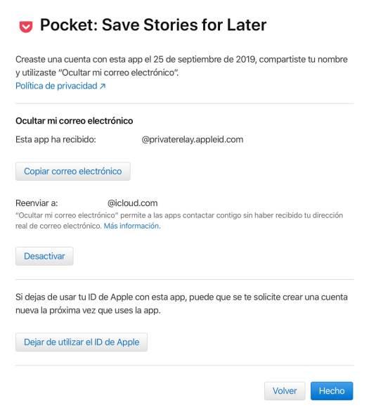 Iniciar sesión con Apple Opciones