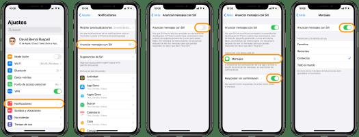 Anunciar mensajes con Siri