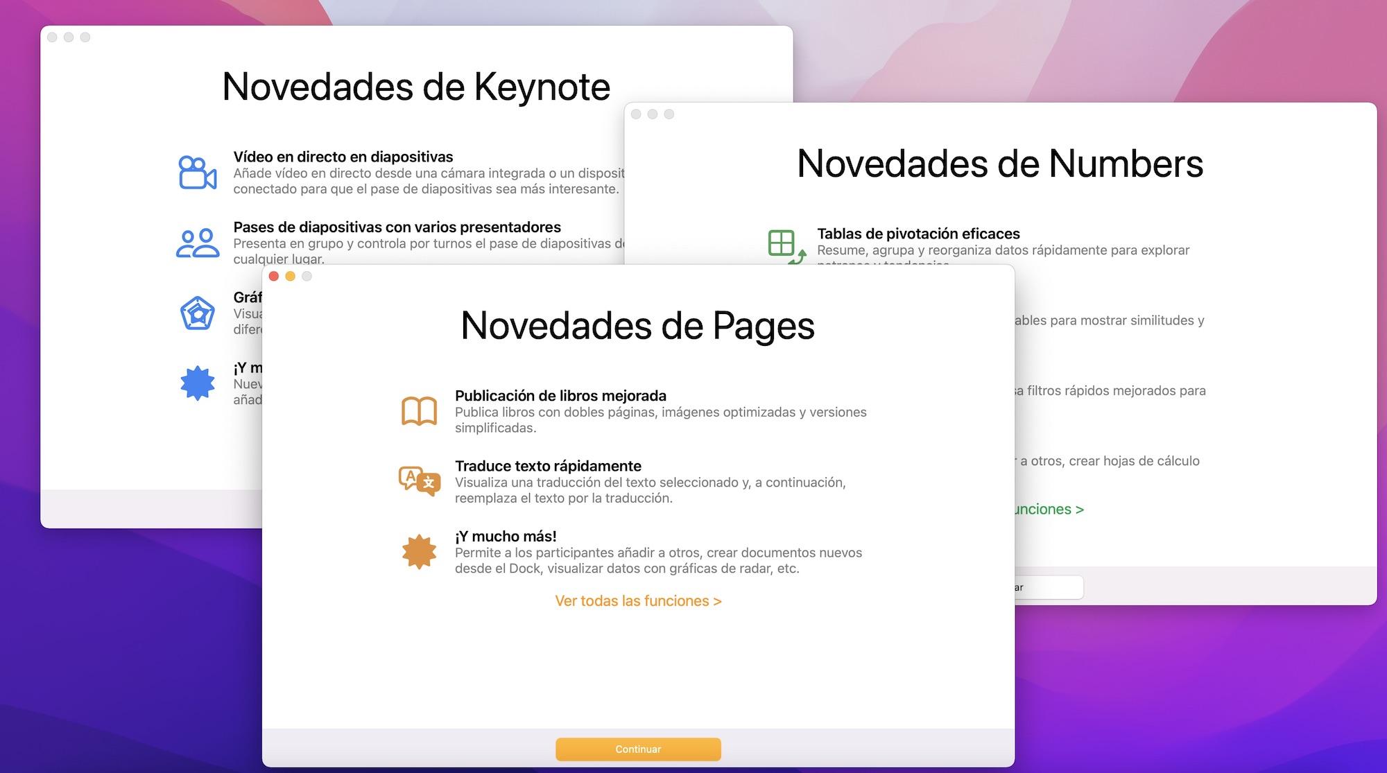 Novedades Pages, Numbers y Keynote