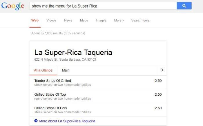 google menu la super rica