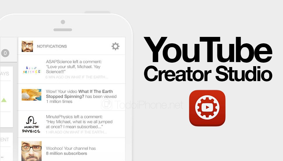 Youtube Creator Studio nueva app para iPhone