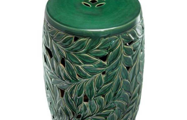 Keramik Hocker Chinoiserie – grün