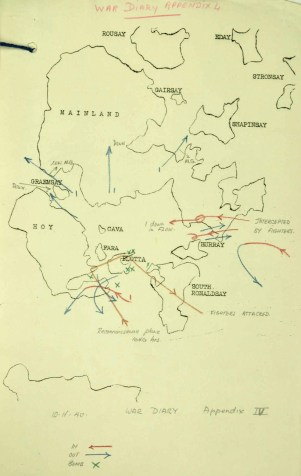 Air Raid Map 10.02.1940. Extract from National Archives, ref. WO 166/1234