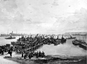 The landing of libertymen at Lyness North Pier. Painting by Charles Cundall ARA. The landing of libertymen at Lyness North Pier. Painting by Charles Cundall ARA. © The National Archives, ref. ADM116/5790