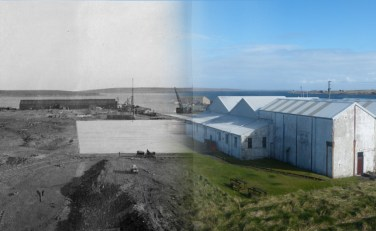WWII Hoy Then & Now - Boom Slab & Pumphouse, Lyness