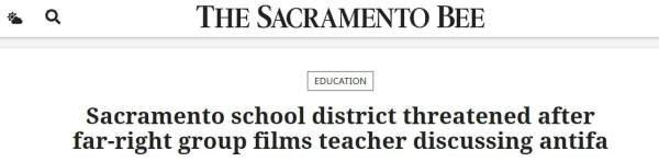 Sacramento school district threatened after far-right group films teacher discussing antifa