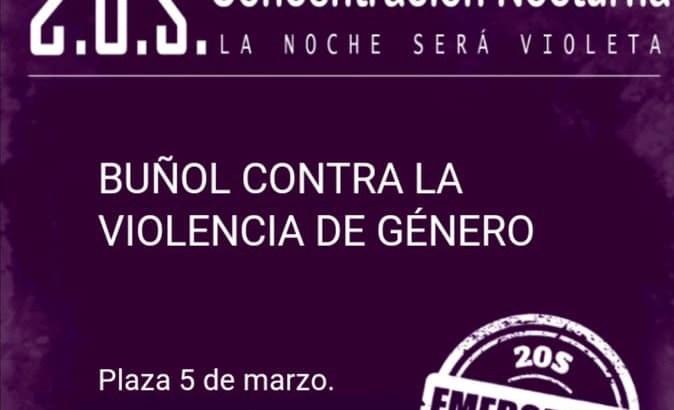 Buñol realiza este viernes una concentración nocturna contra la Violencia de Género