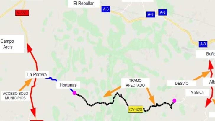 La carretera CV-429 entre Macastre y Yátova permanecerá cortada por obras