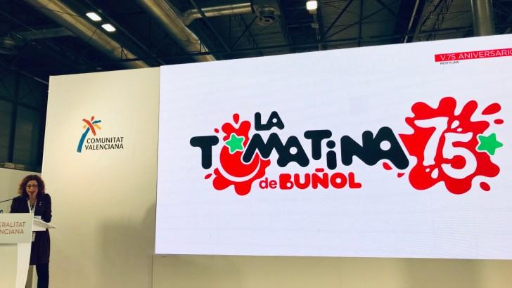 El Ayuntamiento de Buñol presenta en FITUR la imagen del 75 aniversario de «La Tomatina»