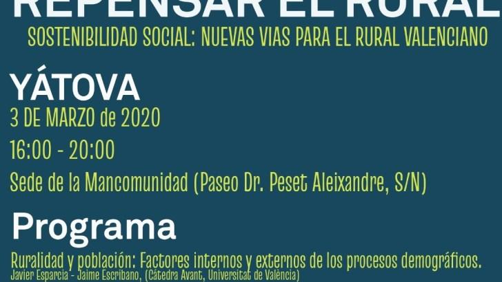 La jornada «Repensar lo rural» llega el próximo 3 de marzo a la Mancomunidad de La Hoya