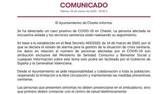 El Ayuntamiento de Cheste informa de un caso de coronavirus en la localidad