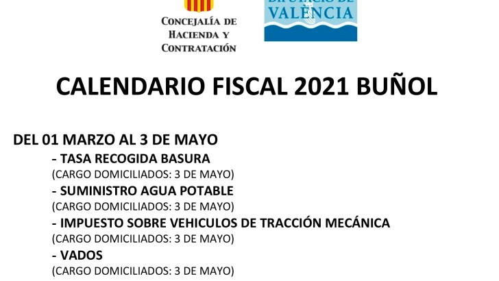 Aquí podéis consultar el Calendario Fiscal de Buñol para 2021