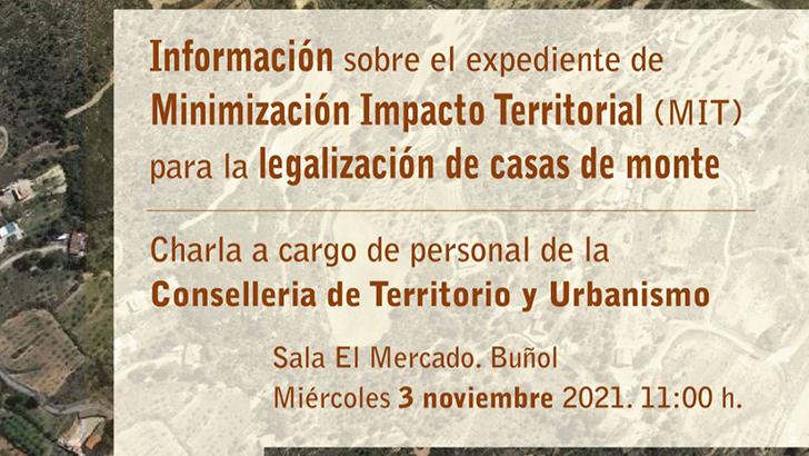 La Concejalía de Urbanismo de Buñol organiza una charla informativa sobre el expediente de MIT para la legalización de casas de monte el próximo miércoles
