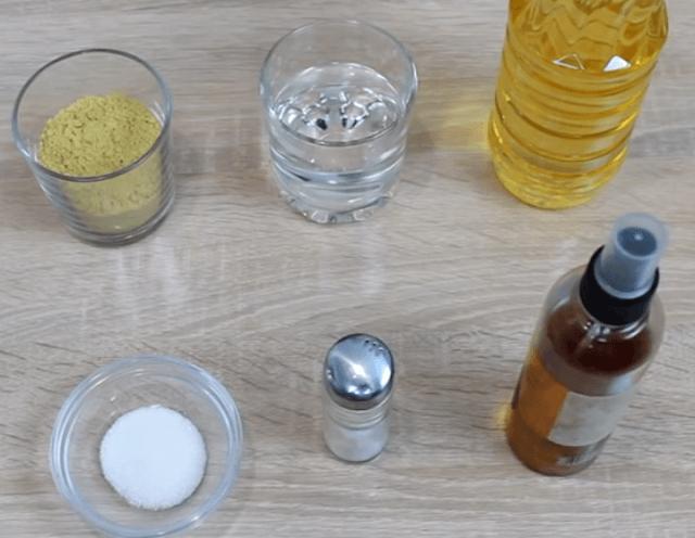 Bahan-bahan untuk mustard di atas air
