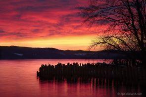 Red sunrise over Øyeren