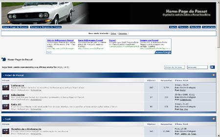 Home-Page do Passat: o fórum próprio foi criado em 2006 e no ano seguinte passou a exibir este layout