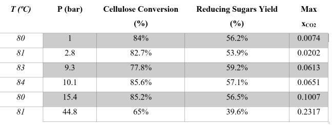 Table 1. Hydrolysis experiments at about 80ºC and different CO2 pressures at a reaction time of t=5 h
