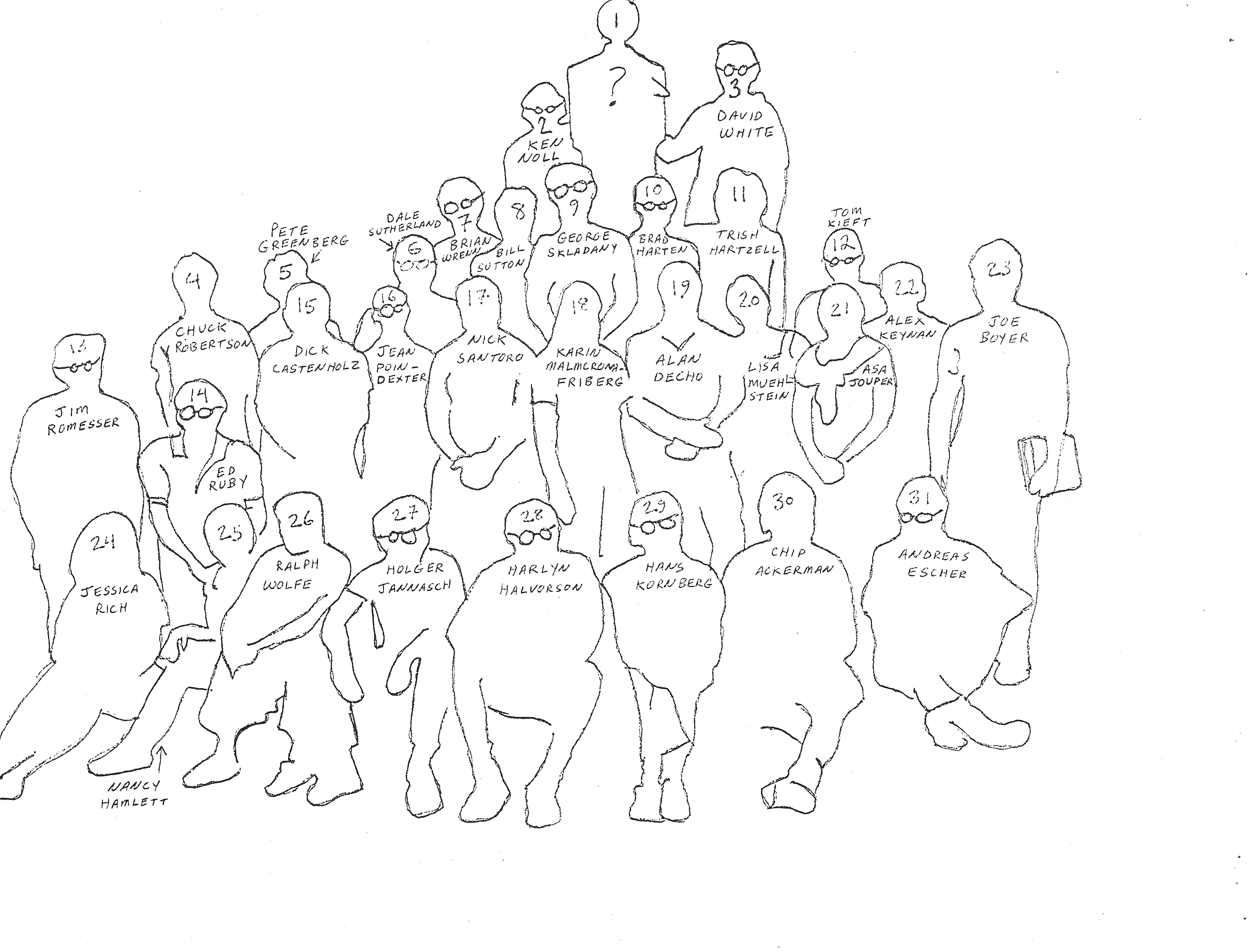 Traced outline of 31 people posing the Microbiology course