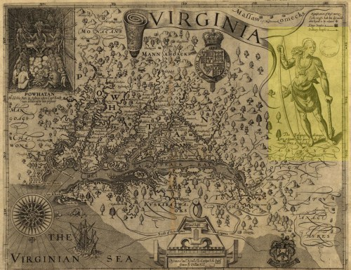 """Depiction of a Conestoga man highlighted in yellow on the 1624 Smith Map. The handwritten caption reads (in modern English): """"The Susquehannocks are a giant-like people and thus attired."""""""