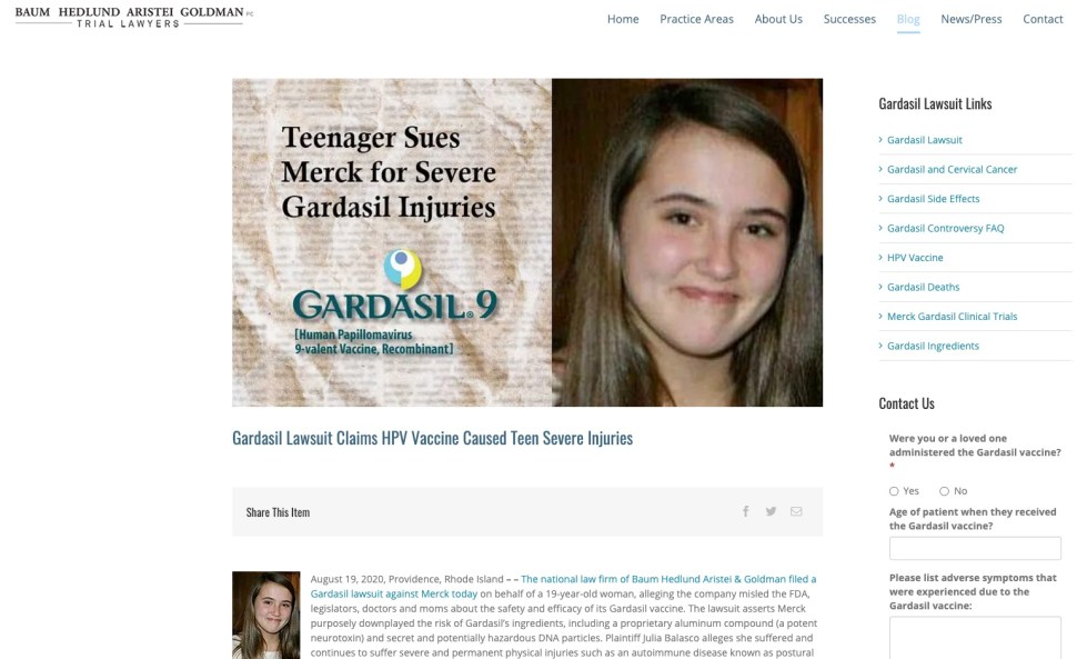Gardasil Lawsuit Claims HPV Vaccine Caused Teen Severe Injuries