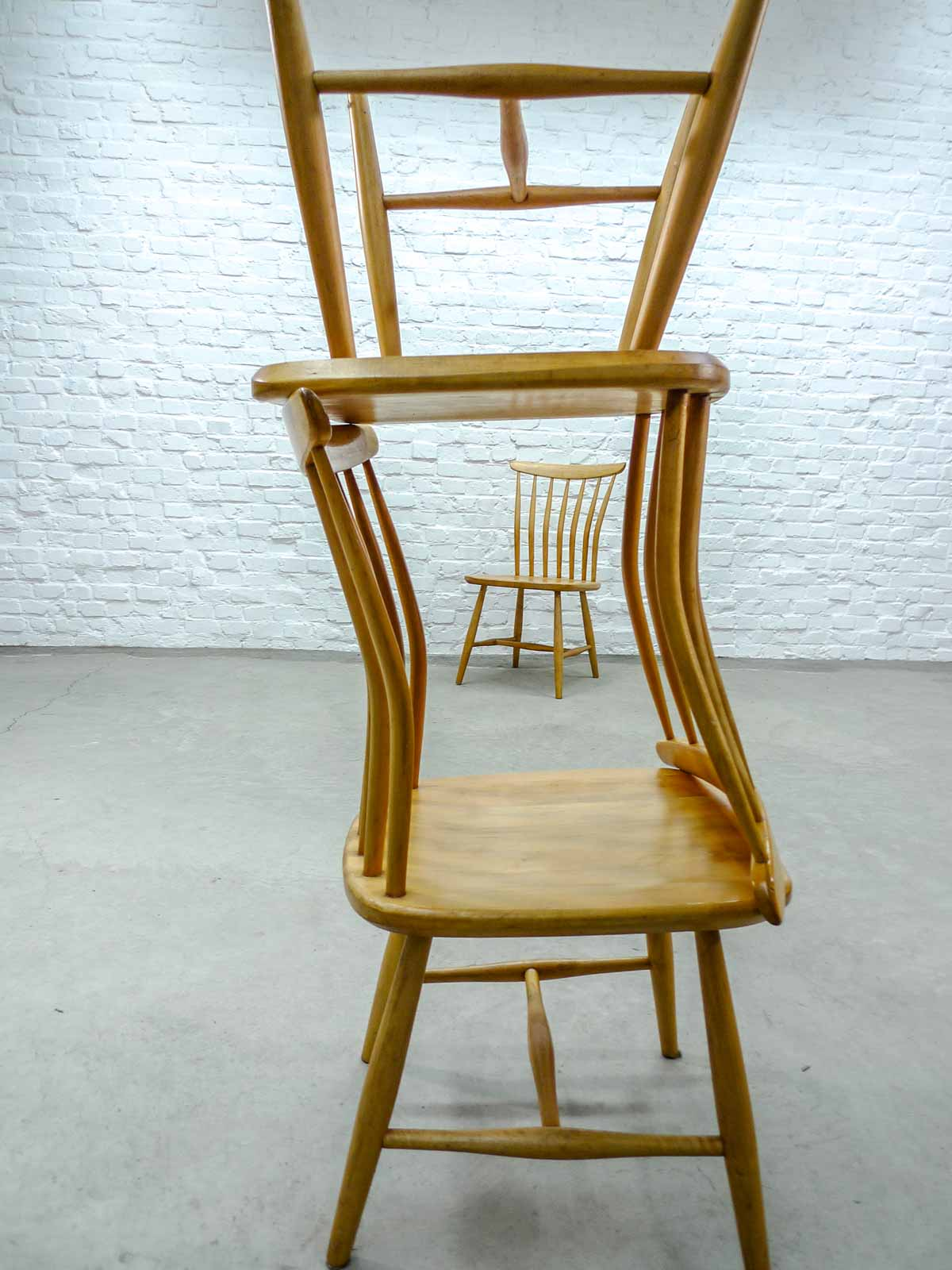 Spindle Dining Chairs Mid Century Set Of Six Beech Wooden Spindle Back Dining