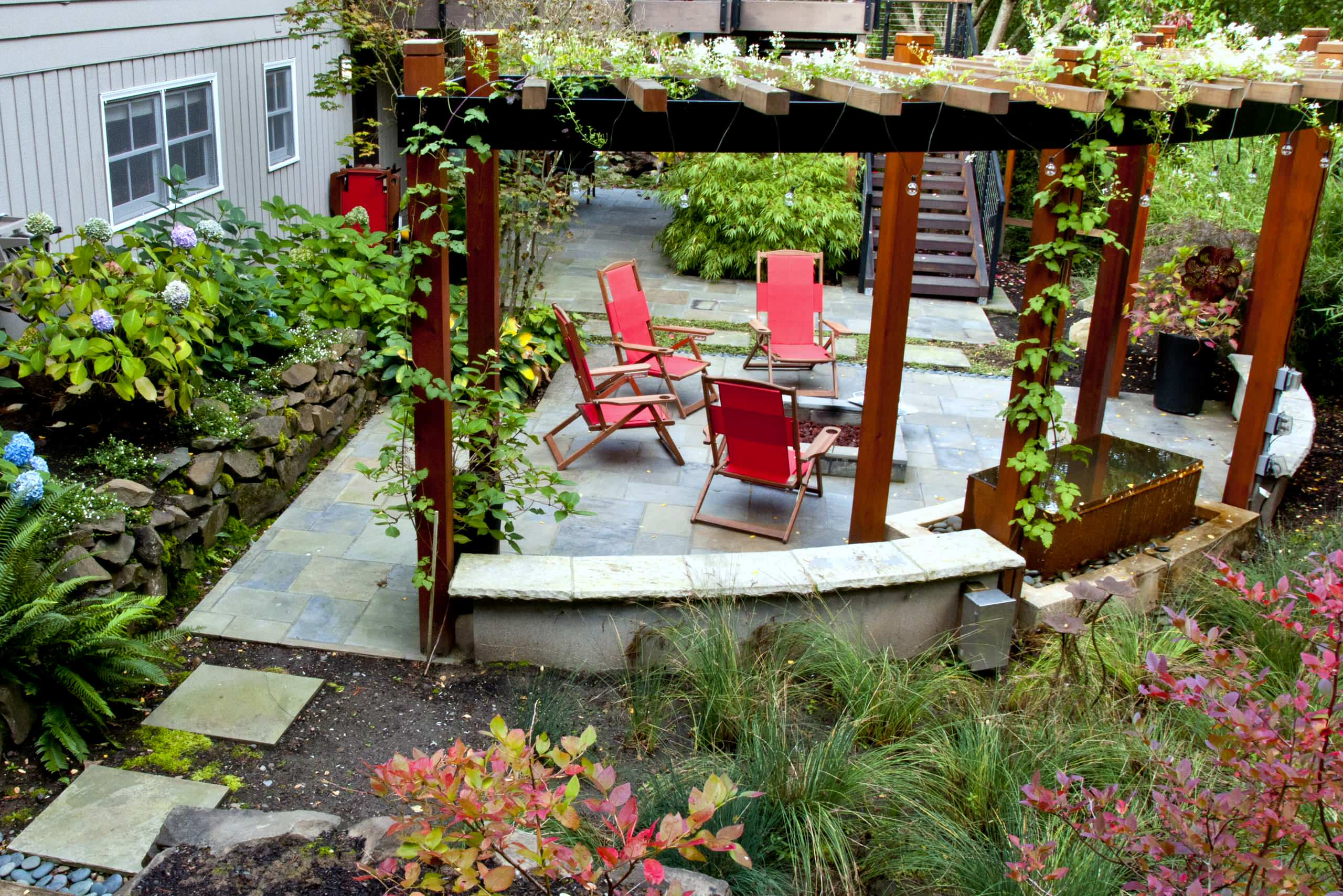Architecture Curved Garden Wall Plus Fire Pit And Flagstone Also