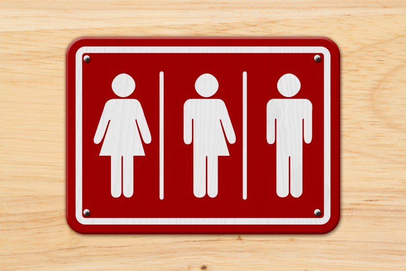 Transgenderism All inclusive transgender sign Red and white sign with a woman a transgender and man symbol on wood 3D Illustration