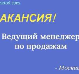 Вакансия - Ведущий менеджер по продажам оптового отдела- г. Санкт-Петербург