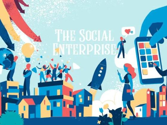 Et billede med pastel farver hvor der står The social enterprise