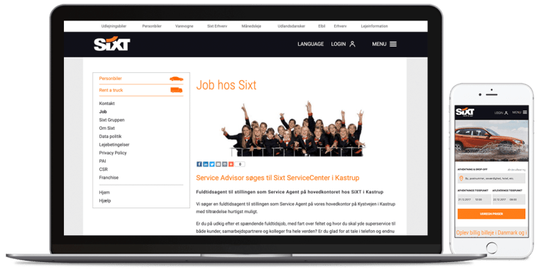 SixtCase job section desktop and mobile version