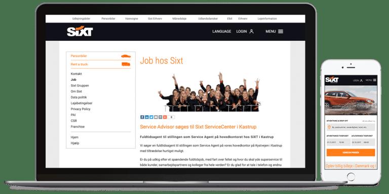 SixtCases hjemmeside på desktop og mobil version