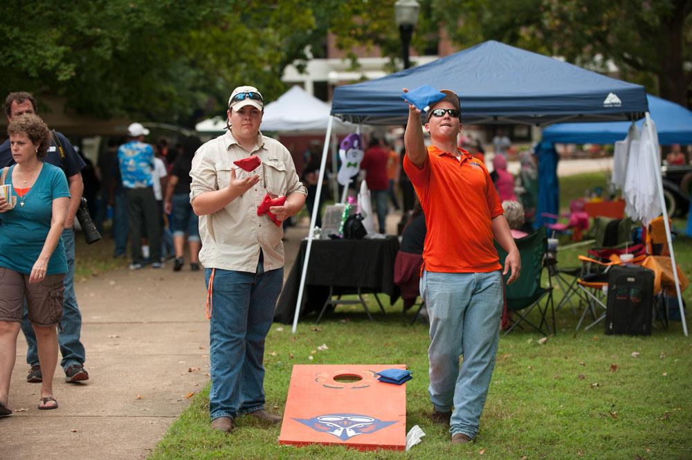 UT Martin fans play a bag toss game