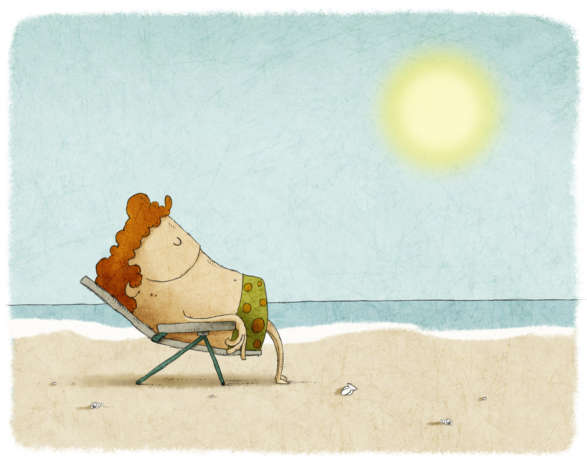 illustration of a man napping in a lawn chair on the beach
