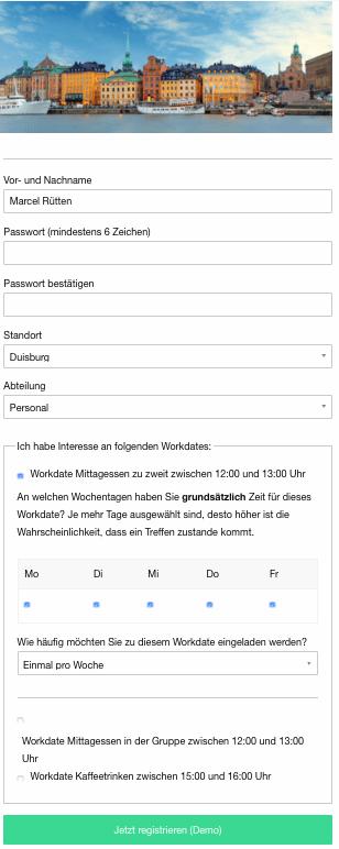 Workdate Registrierung Schritt 2