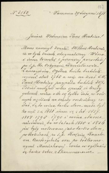Kartka pożółkłego papieru zapisana starannym pismem ręcznym.