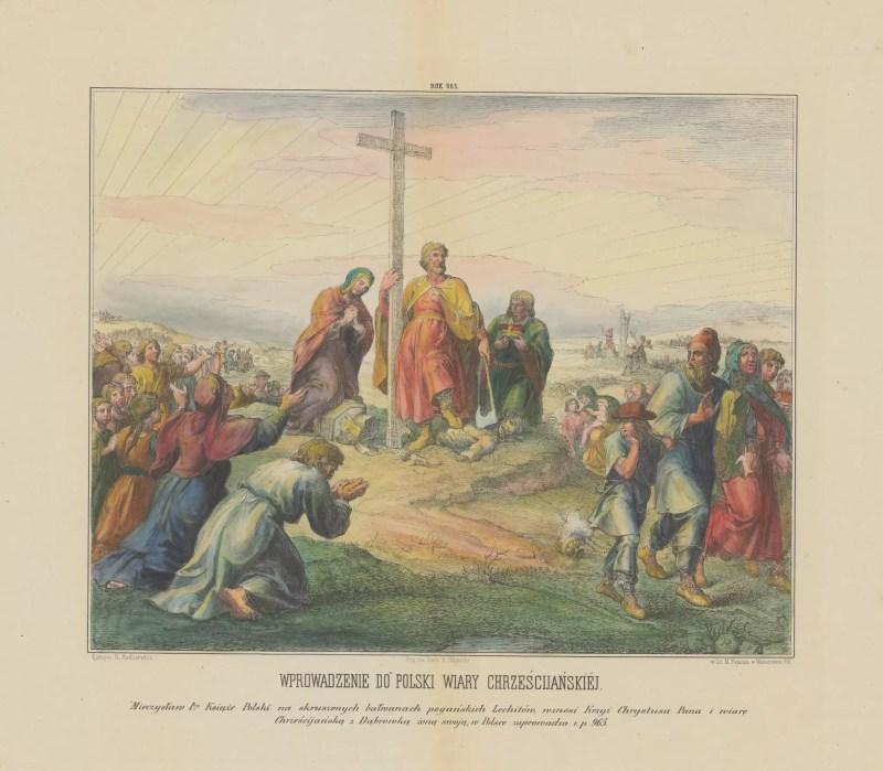 Władca z siekierą w ręku trzyma drugą ręką wysoki drewniany krzyż postawiony w miejscu obalonego posągu pogańskiego bóstwa. Jeden z dworzan podaje mu mitrę książęcą, a po drugiej stronie klęczy modląca się kobieta (Dobrawa). Po lewej stronie klęczą i modlą się poddani, a po lewej odchodzą oburzeni poganie.