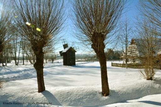 Old Polish Village in Winter Scenery