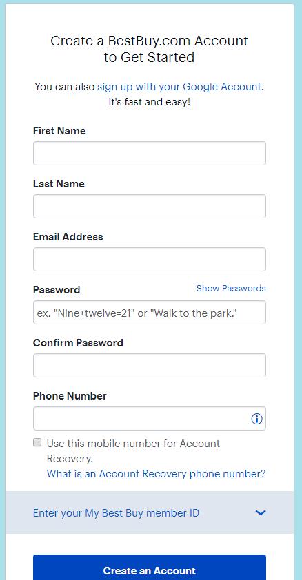 Best Buy Create an Account