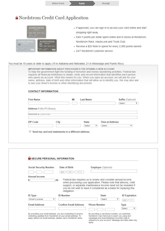 Nordstrom Online Application