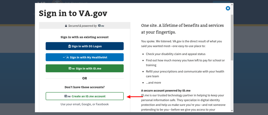 VA gov Home Create Account